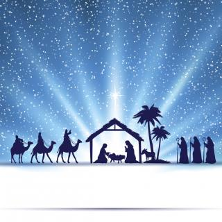 illustration of nativity scene under glowing dark blue night sky, silhouettes of parents with baby, riders on camels, palm trees