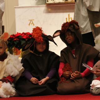 On a church chancel, children dressed as sheep and cows kneel during a Christmas pageant