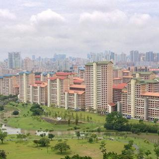 Landscape view of a city next to a green space.