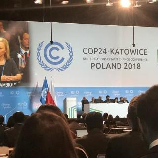 Photo of display panel at COP24 Katowice UN Climate Change Conference Poland 2018