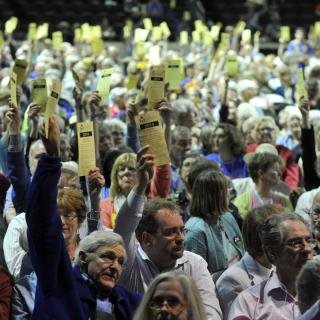 Delegates raise their hands to vote during GA Congregational Study/Action Issue vote, 2014.