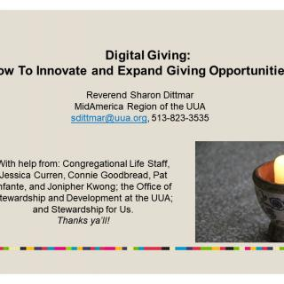 Digital Giving webinar title slide How to oInnovate and Expand Giving Opportunities
