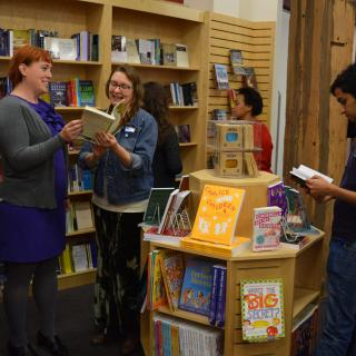 People standing in the UUA's inSpirit bookstore.