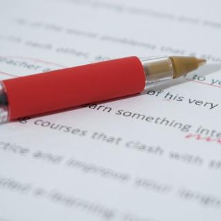 Red pen on an edited document