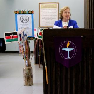 All Souls Envoy Sylvia Heap speaks at the congregation's 40th UN Sunday service