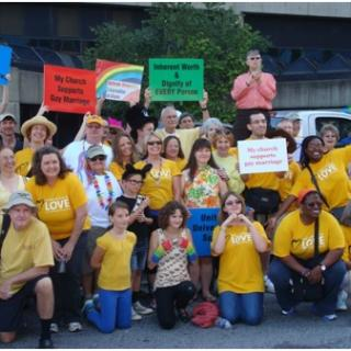 Members of the UU Congregation of Atlanta take part in a Pride march.