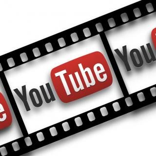 YouTube logo inset in filmstrip frames