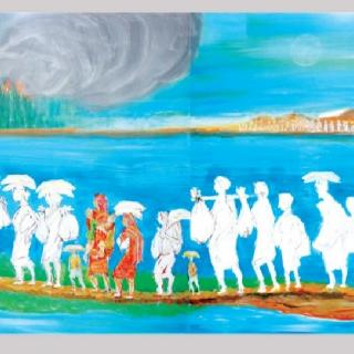 """Fleeing Rohingya,"" a painting by Syed Jahangir"