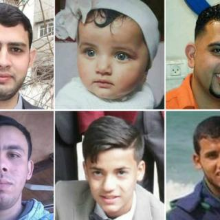 Photos of Ahmed Alrantisi, Laila Anwar Al-Ghandoor, Ahmed Altetr, Alaa Alkhatib Ezz el-din Alsamaak, Motassem Abu Louley, all killed by Israeli Defense Forces