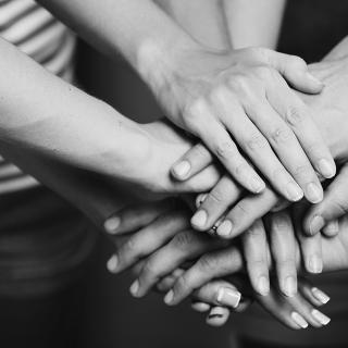 A close-up photo of the stacked hands, solidarity-style, of three people.