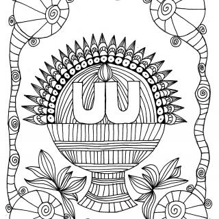 "a ""doodle"" drawing of a chalice, with ""UU"" at the center and stylized lines radiating outward"