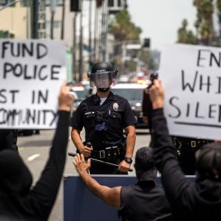 Demonstrators in Hollywood on June 2, 2020