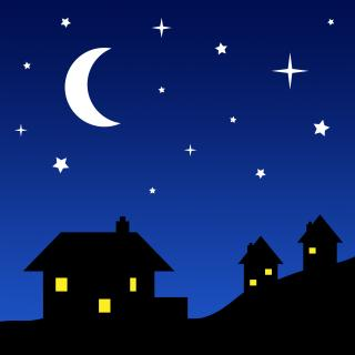 three houses in silhouette on a hill at night, windows lit and stars above