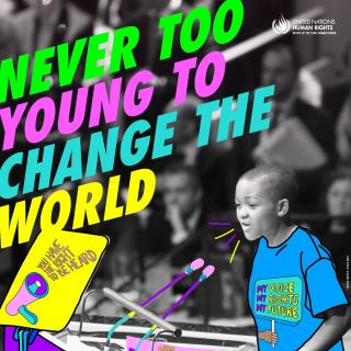 "Photo of a child speaking into a microphone with the text ""Never too young to change the world"" and ""you have the right to be heard"" floating and the slogan ""my voice, my rights, my future"" on their tshirt"