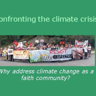A text box with teal background. In the center is a photograph of a group of people holding several banners with slogans. The text reads: Confronting the Climate Crisis - Why address climate change as a faith community?