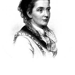 Portrait of Julia Ward Howe with signature below