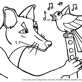 Tapestry of Faith, Wonderful Welcome, Session 6 JPEG illustration for How Coyote Lost His Songs