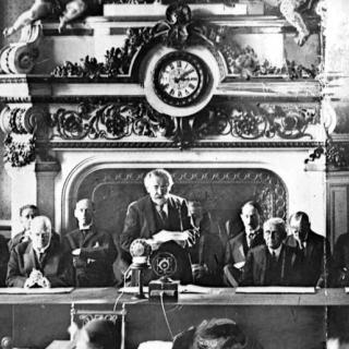 French foreign minister Briand speaking at the signing of the Kellogg-Briand pact in Paris in 1928, which pact sought to outlaw war.