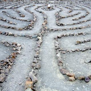 A labyrinth whose path is marked by stones