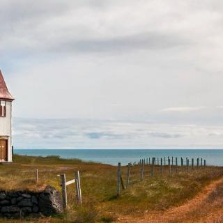 Lonely Church in Iceland on the coast
