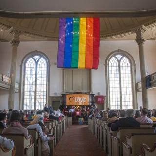An Interfaith rally for marriage equality inside the First Unitarian Church of Providence, RI, 2013