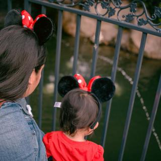 From behind, the shoulders and heads of a mother and toddler gazing into a pond. Both are wearing Minnie Mouse ears.