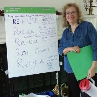climate presentation, presenter with flipchart, from Mt. Vernon Unitarian Church