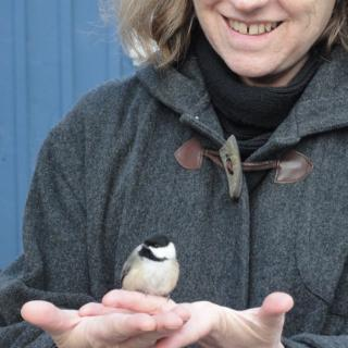 Myke Johnson smiles at her open palms, on which sits a chickadee.