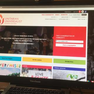 A computer screen with the new UUA.org homepage
