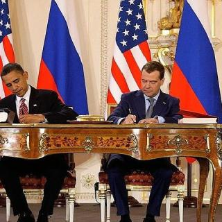 U.S. President Obama and Russian President Medvedev signing the New START Treaty in 2010