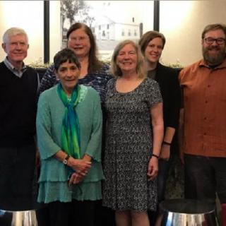 Northern New England District Board of Directors. Back Row:  Austin Farrar, Jamie Gibson, Rev. Allison Palm and Rev. Paul Sawyer; Front Row: Rev. Olivia Holmes and Mary Heafy