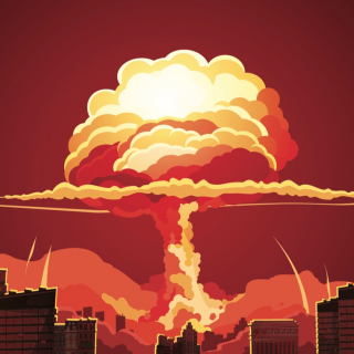 Cartoon illustration of a nuclear bomb explosion