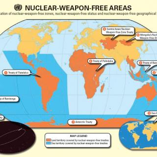 Map depicting nuclear-weapon-free zones which encompass Latin America, Africa, and much of the South Pacific as well as parts of Southeast Asia and Central Asia.