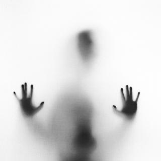 A person, obscured, with their palms facing the camera, as if seen through a sheet or bubble
