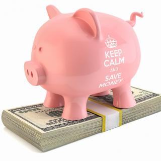 "Pink piggy bank on a stack of $100, with ""Keep Calm and Save Money"" quote"