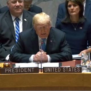 U.S. President Trump reading from a script as President of a Sept. 26, 2018 UN Security Council meeting on weapons of mass destruction