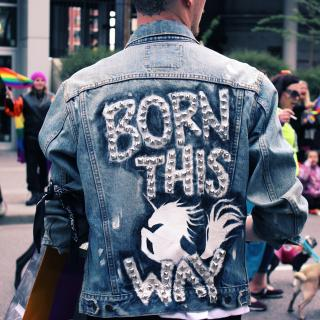 "The back of a person's denim jacket says, ""Born this way"" in metal studs, with a unicorn. In the background, people wave rainbow flags."