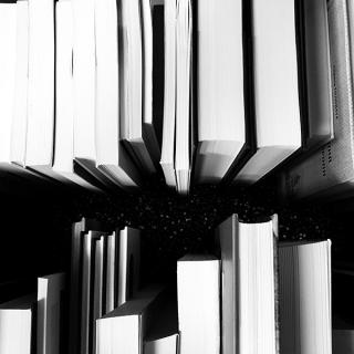 Black and white photo of a row of the tops of books