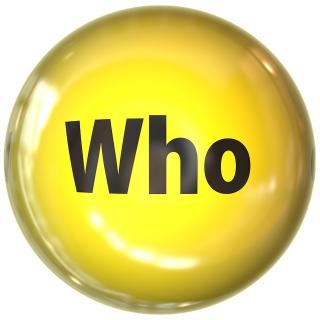 The word who in a yellow bubble