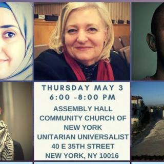 Graphic with photos of speakers for Refugees & Resettlement panel event hosted by the UU-UNO May 3, 2018