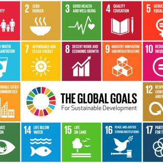 "Graphic depicting the 17 UN Sustainable Development Goals, aka ""The Global Goals for Sustainable Development"""