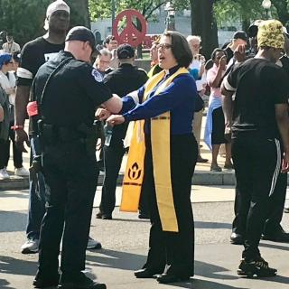 UUA President Rev Susan Frederick-Gray is arrested in Washington, DC during the first day of Poor People's Campaign 40 Days of Action, 5/14/2018