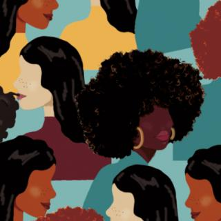 Graphic pattern of illustrated faces of women of color