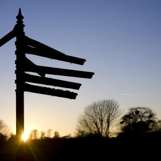 "In silhouette against a twilight sky, a signpost thrusts seven different ""arms"" in different directions."