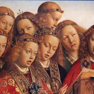 "Jan van Eyck's ""The Ghent Altarpiece, Singing Angels,"" 1427-29."