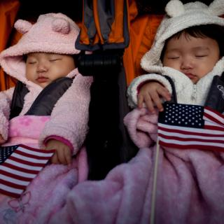 two babies, wearing fuzzy hoods with animal ears, sleep in a stroller while holding small American flags