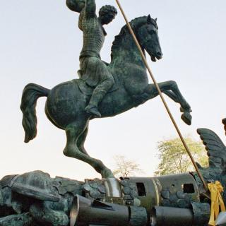 Sculpture depicting St. George slaying the dragon. The dragon is created from fragments of Soviet SS-20 and United States Pershing nuclear missiles.