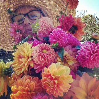 Teresa, wearing a large straw hat in the sun, is holding an enormous colorful bouquet of dahlias.