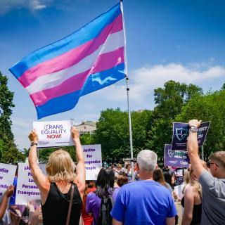 A large trans flag is held aloft at the 2019 Rally to Protect Trans Health, at the White House, Washington, DC.