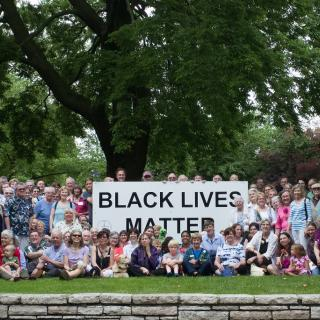The Congregation of Unitarian Church of Evanston, IL together for Black Lives Matter